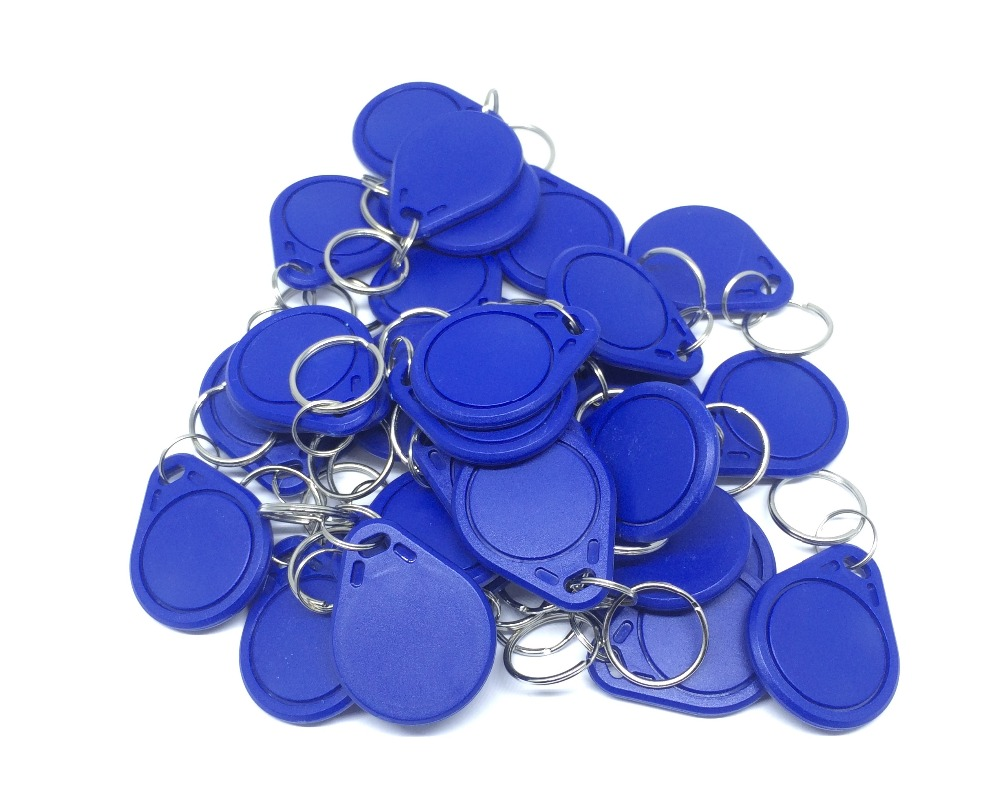 Free Shipping RFID 13.56Mhz IC Tag Token Key Ring MFS50 IC cards Blue 100pcs/lot free shipping mc68hc908mr32cfu mc68hc908mr32 qfp ic 10pcs lot