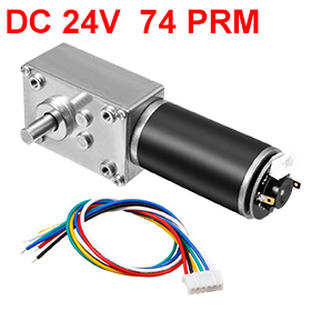Uxcell(R) 1PCS DC 24V 74RPM 25Kg.cm Self-Locking Worm Gear Motor With Encoder And Cable, High Torque Speed Reduction Motor 1pcs dc 12 24v shaft high torque right worm gear motor speed reduction