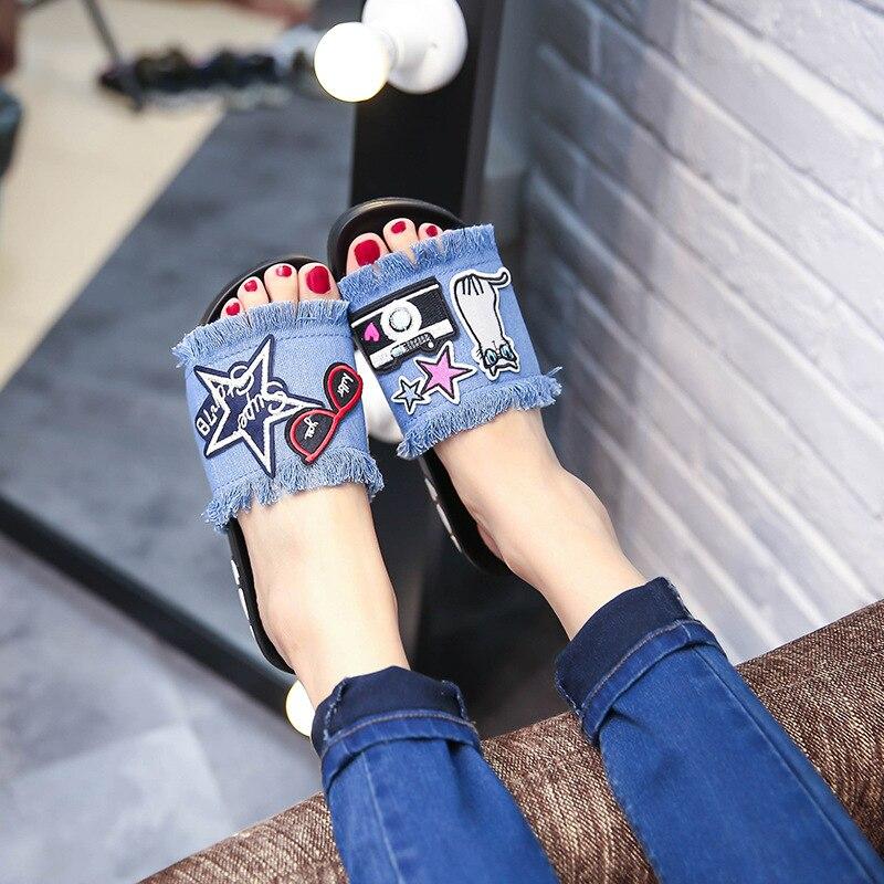 9271 nuevo vaquero una palabra procrastina joker usando bordado zapatos de mujer zapatos antideslizante sandalias de verano