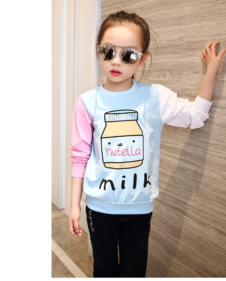 little teenage girls t-shirt character girls tops blue white pink patchwork tees girl tshirt 2016 spring autumn kids clothes  6 7 8 9 10 11 12 13 14 15 16 years old big little teenage girls long sleeve t-shirts children clothing (6)