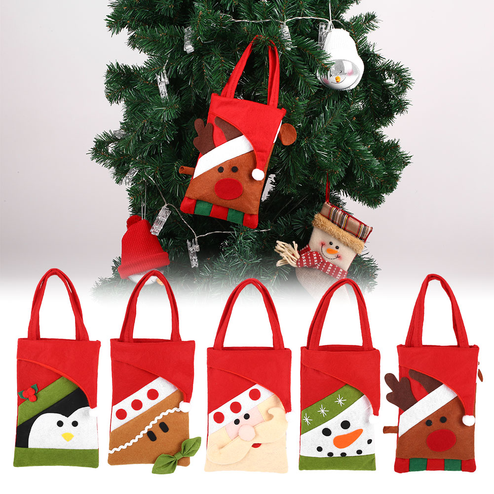Novelty Christmas Candy Bag Non-woven Kids Gifts Storage Pouch Holder Ornaments