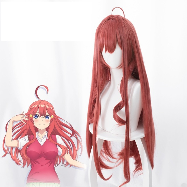 Anime Gotoubun No Hanayome The Quintessential Quintuplets Itsuki Nakano Cosplay Wigs Long Heat Resistant Synthetic Wig + Wig Cap