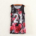 Red rose letters print tank tops women casual casualwear 2016 fashion design summer dresses girls sleeveless tanks