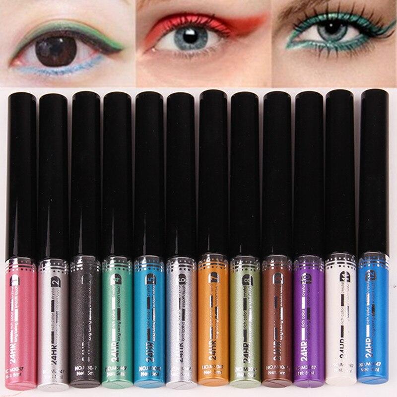 12 Color Metal Flash Eyeliner Brand Beauty Makeup Liquid Eyeliner