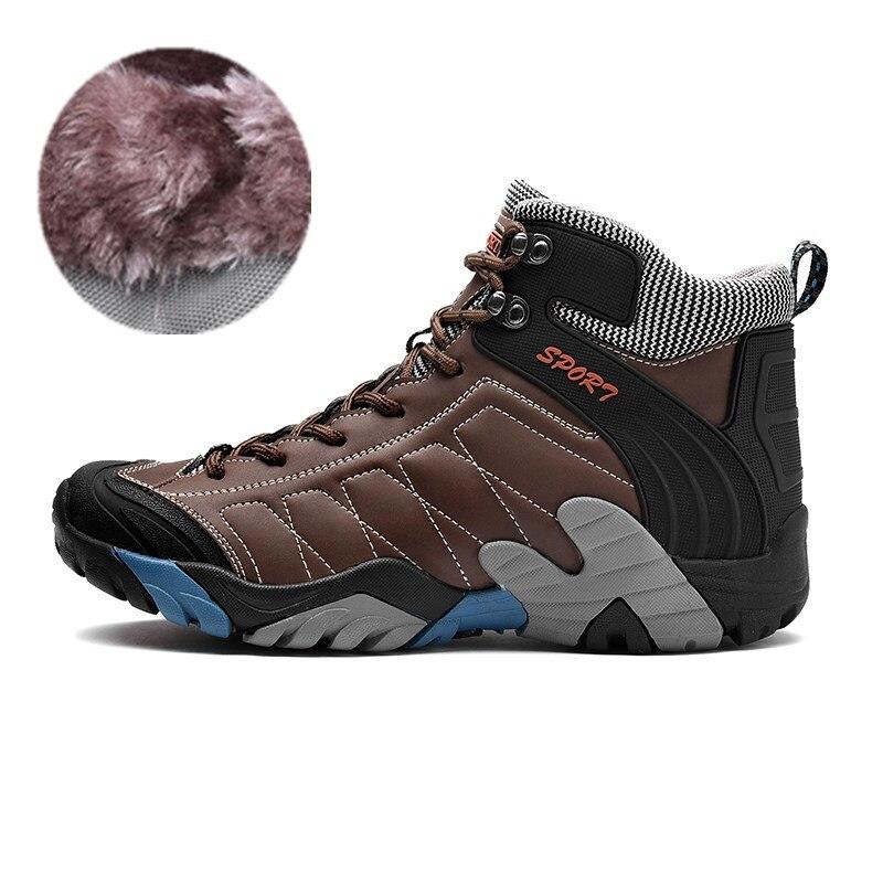 38-45 Natural Leather Men Boots Plush Warm Winter Boots Men High Quality Winter Shoes men