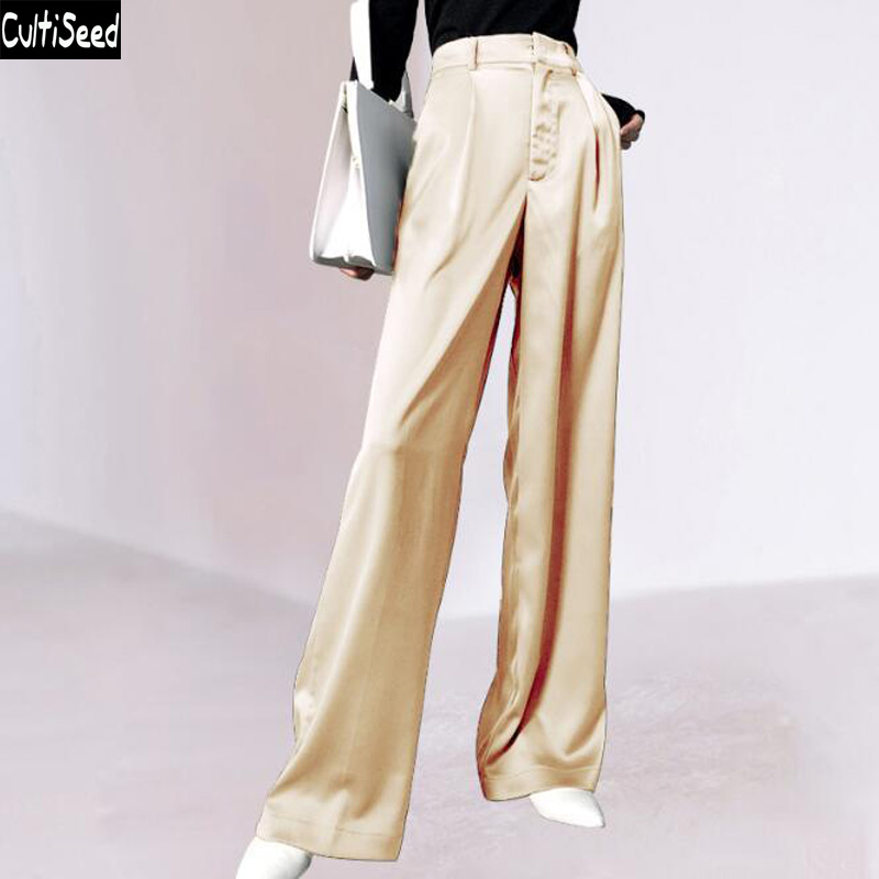 Cultiseed Women Summer High Waist Satin Wide Leg Pants Trousers Ladies Fashion Solid Color Long Pant Trousers Loose Casual Pant