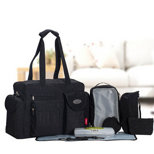 Free shipping NEW 8PCS Solid Mother Baby Messenger Bag Tote Baby Shoulder Diaper Nappy Bag Durable High Capacity Mummy Bag Black