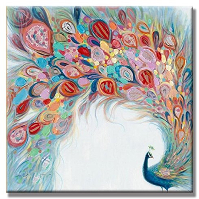 Large knife color peahen pictures handmade pretty peacock - Oil painting ideas for living room ...