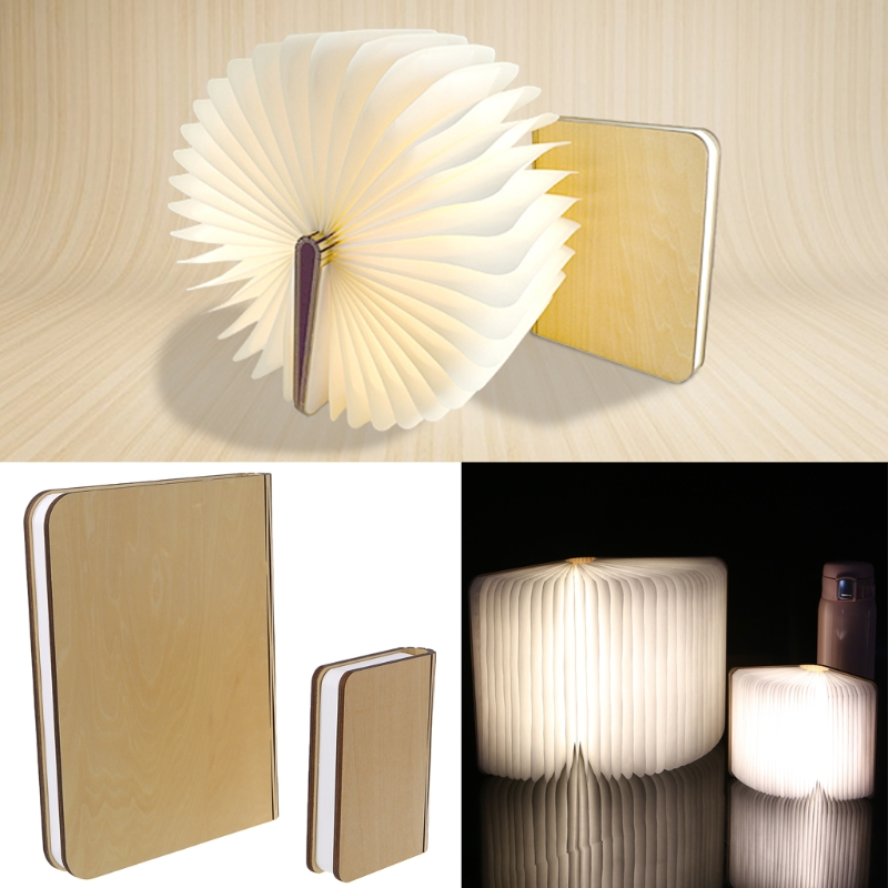 USB Rechargeable LED Foldable Wooden Book Shape Desk Lamp Nightlight Booklight For Home Decor Warm White Light usb rechargeable led foldable wooden book shape desk lamp nightlight booklight for home decoration