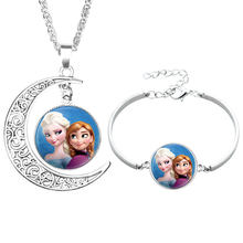 NingXiang Silver Color Princess Elsa Anna Mermaid Tinker Bell Cinderella Glass Cabochon Necklace Bracelet Jewelry Set For Girls(China)
