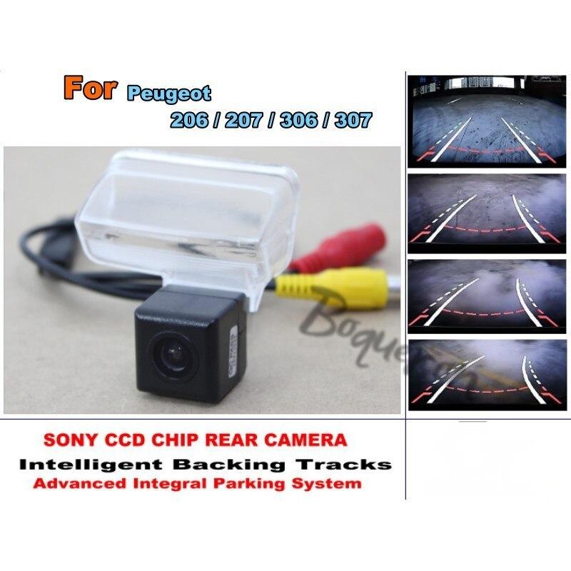 Smart pistes puce caméra/HD CCD Intelligent dynamique Parking voiture vue arrière caméra pour Peugeot 206/207/306/307