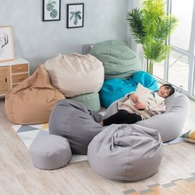 1 Piece Large Small Lazy Sofas Cover Chairs Without Filler Linen Cloth Lounger Seat Bean Bag Pouf Puff Couch Tatami Living Room