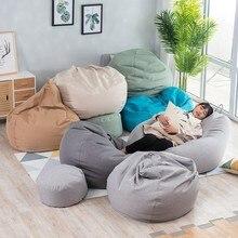 1 חתיכה גדול קטן עצלן ספות כיסוי כיסאות ללא מילוי פשתן בד כסא מושב שקית שעועית פוף פאף הספה טאטאמי סלון