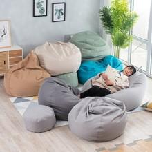 Housse de chaises en tissu de lin sans remplissage, siège longue, sac haricot, Pouf, Tatami de salon, 1 pièce
