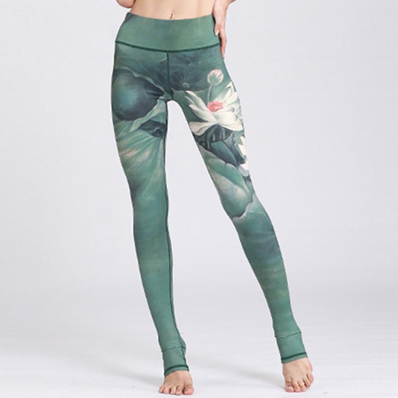 2018 Hrajuku Lotus Ink Painting 3D Print Women Slim Skinny Fitness Legging High Waist Capris Pant Quick-drying Workout Leggins