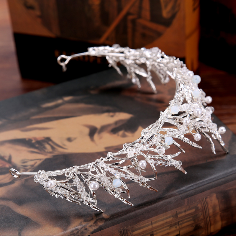 FORSEVEN Crown Bridal Hair Accessory Wedding Rhinestone Waterdrop Leaf Tiara Crown Headband Frontlet Hair Jewelry 7
