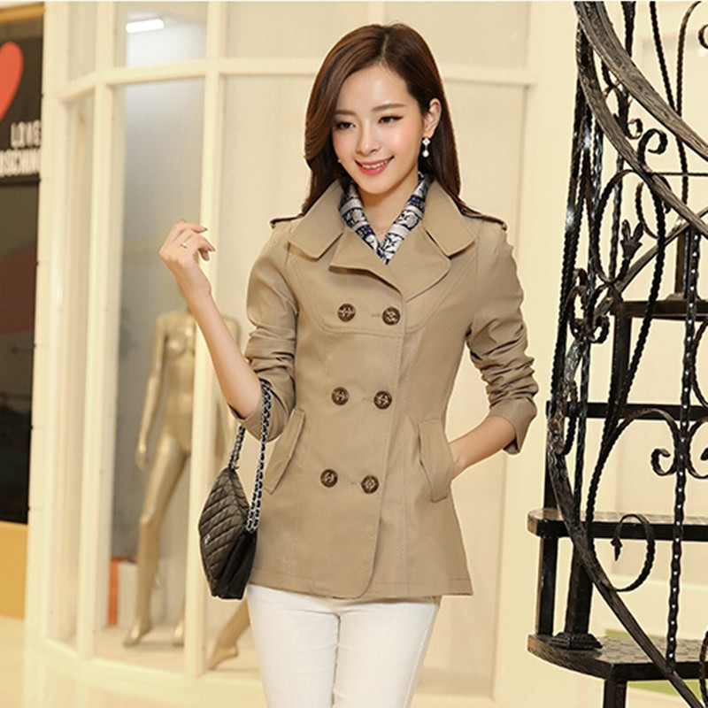 2017 spring coat short trench coat women plus size outerwear slim ...