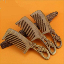 19cm Natural handmade Green Sandalwood Boutique Comb hairdressing professional health care Green sandalwood wooden Combs