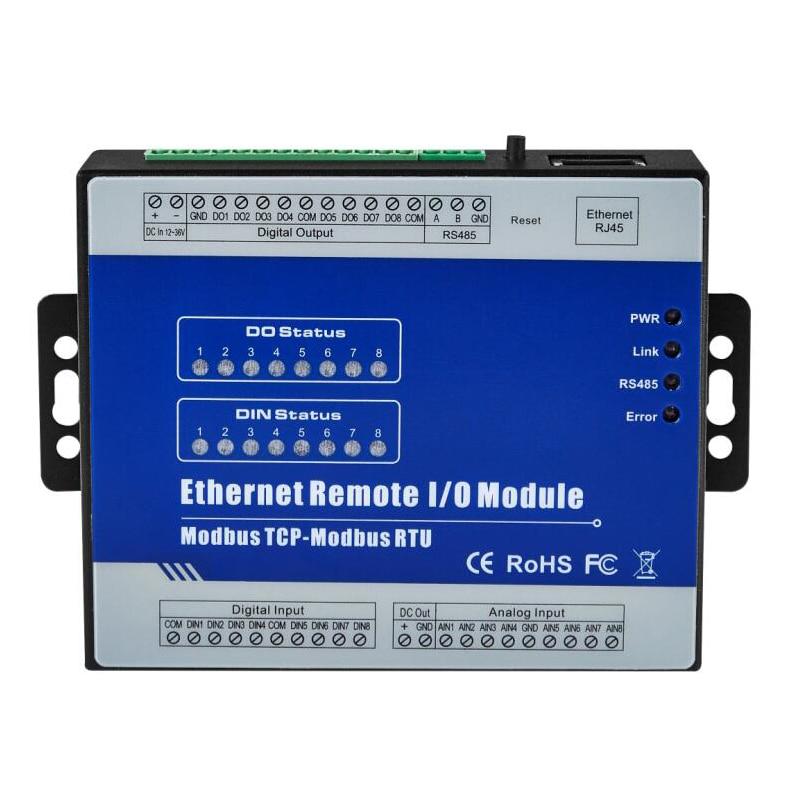 Ethernet Remote IO Modul für Modbus RTU I/O geräte RTU meter 8 Digitale Ausgänge industrielle automatisierung M320T