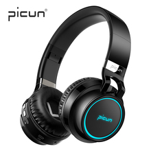 Picun p60 Wireless Bluetooth Headphones With Mic Luminous Headphones For Running ps4 Headset Folding Stereo Bass Sound for PC Наушники