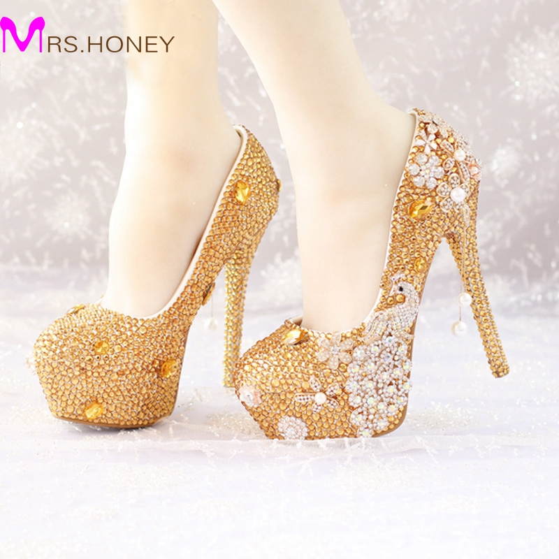 Glitter Gold Rhinestone Wedding Shoes 5 Inches High Heel Party Pumps Bling Diamond Evening Prom Heels Celebrity Function Shoes sweet girls pink rhinestone and ivory pearls diamond wedding high heels shoes graduation ceremony party pumps drop shipment