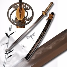 Handmade Japanese Sword Folded Steel Clay Tempered Sharp Blade Samurai Full Tang Katana Sword  Christmas Decoration Knife