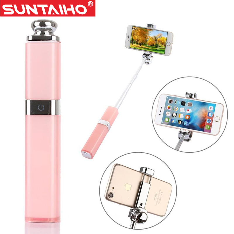 Prix pour Rouge à lèvres Bluetooth/Sans Fil Selfie Bâton Monopode pour iPhone 7/7 plus iphone 6 6s iOS pour Samsung Mode Auto Colle Auto-pôle