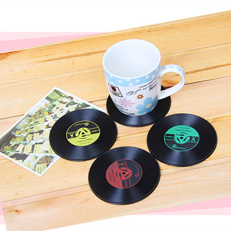 New Arrival Home Table Cup Mat Creative Decor Coffee Drink Placemat Spinning Retro Vinyl CD Record Drinks Coasters ...