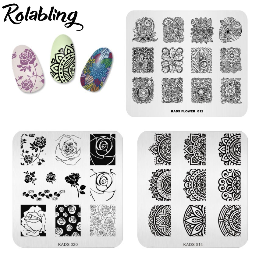 3PCS Nail Stamping Plates Flower Butterfly Design 7*8cm Stamp Template Nail Art Image Plate Stamping Polish Stencil