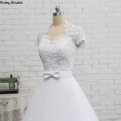 Ruby Bridal 2019 Elegant Vestido De Noiva Short Sleeve Ball Gown Wedding Dresses White Tulle Appliques Beaded Bridal Gown PW1902 4