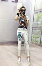 цены European Station 2017 Big Flowers Stretch Cents Nine White Blue Stitch Elegant Female Jeans