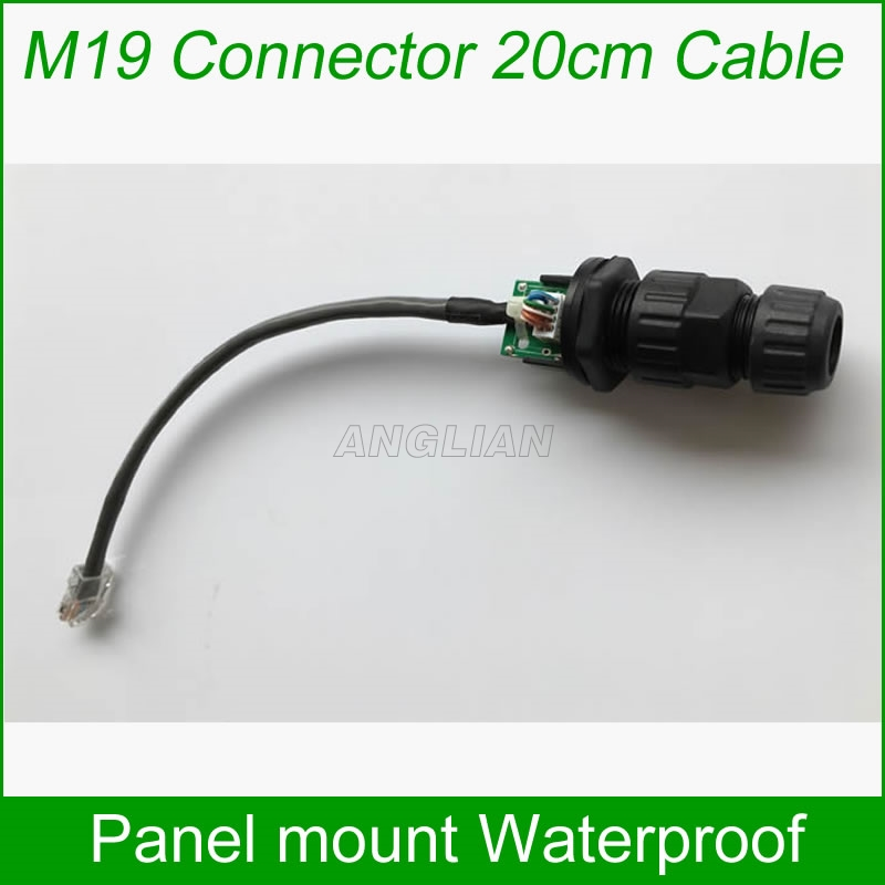 M19 panel mount with Ethernet cable 200mm With matching cap waterproof Telecom Communication Monitoring system AP box 10 units