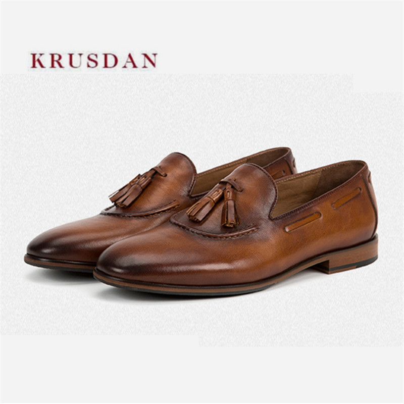 KRUSDAN New Brown Men High Quality Genuine Leather Tassel Shoes Men Loafers Handmade Slippers Dress Wedding Shoes Slip On Flats men loafers 2016 new arrival handmade genuine leather sewing men flats slip on high quality autumn driving shoes for men