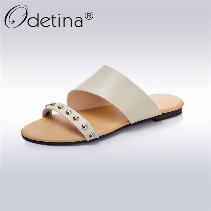 Odetina Fashion Women Genuine Leather Summer Flat Rivet Slides Sandals Ladies Beach Slippers Casual Slip On Shoes High Quality