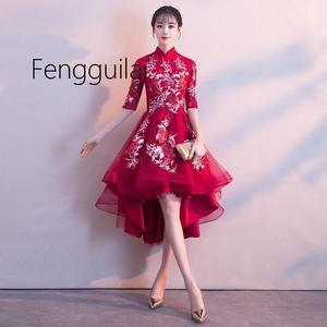 Image 5 - 2019 伝統的な刺繍花チャイナエレガントなハーフスリーブ中国女性イブニングドレスヴィンテージオリエンタル花嫁のウェディング