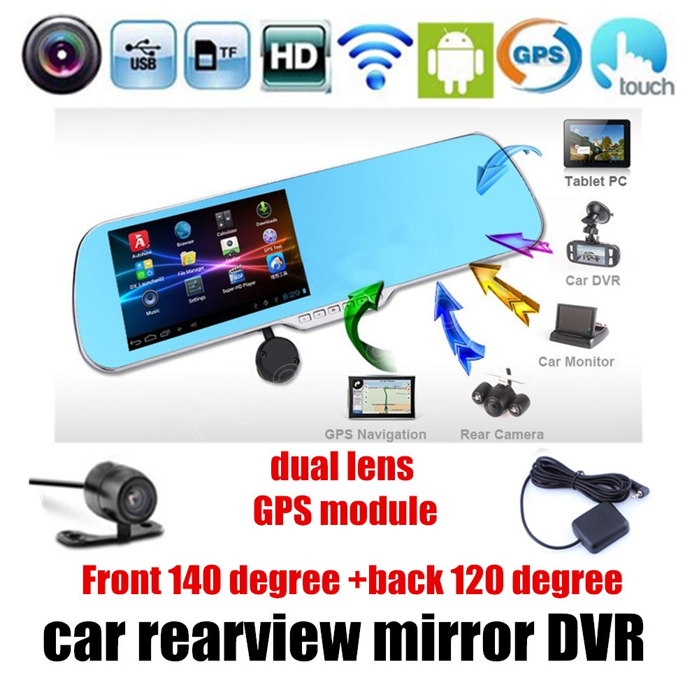high quality 5 inch for Android Rearview mirror Car DVR GPS Navigator Mirror Dash Cam Dual Lens Camera touch screen 5 inch car camera dvr dual lens rearview mirror video recorder fhd 1080p automobile dvr mirror dash cam