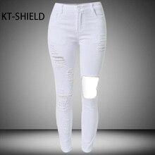 Белые Джинсы женщин тощий Высокой талии Эластичные брюки Карандаш Женские Сплошной цвет jeggings отверстие разорвал джинсы Брюки Хлопок джинсовые