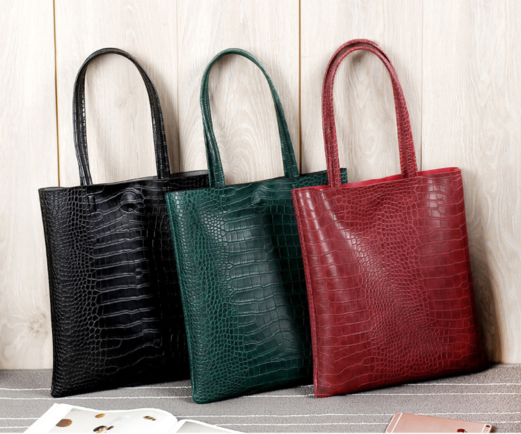 Alligator Leather Pattern Tote Bucket Leisure Bolsa Feminina Female Handbag Large Size Shopping Bag