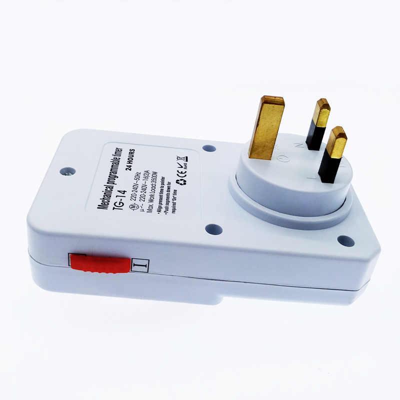 Minuterie cyclique 24 heures interrupteur minuterie de cuisine prise de courant universelle minuterie mécanique 230VAC 3500W 16A UK EU CN US Plug