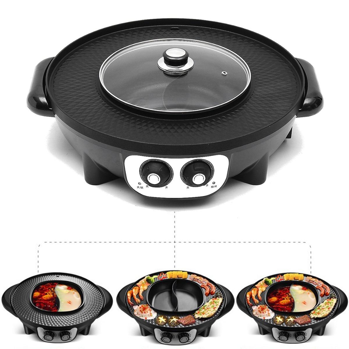 220 В 2200 Вт 2 в 1 электрическая Мультиварка сковорода для барбекю Горячая кастрюля Крытый открытый Электрический бездымный гриль для барбекю