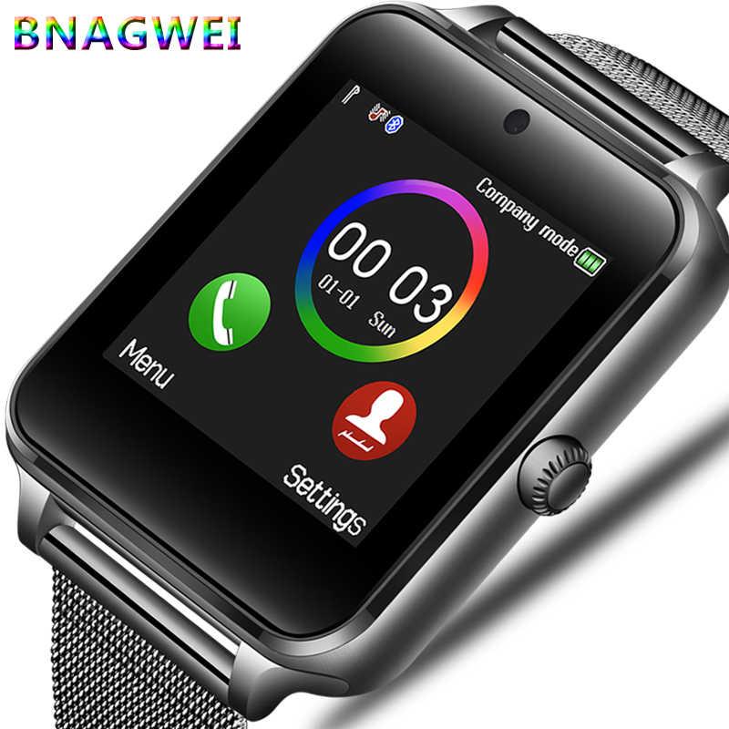 LIGE nowe smart watch mężczyźni Bluetooth kamery telefonu ze stali nierdzewnej pasek sport krokomierz Smartwatch Android relogio inteligente