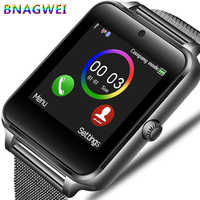 LIGE nuevo reloj inteligente para hombres, cámara de teléfono Bluetooth, correa de acero inoxidable, podómetro deportivo, reloj inteligente Android, reloj inteligente