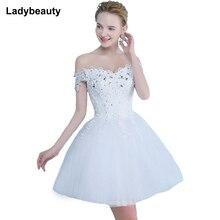 Vestido De Noiva Короткое свадебное платье с открытыми плечами Хрустальное бальное платье кружевное платье модное романтическое Короткое свадебное платье