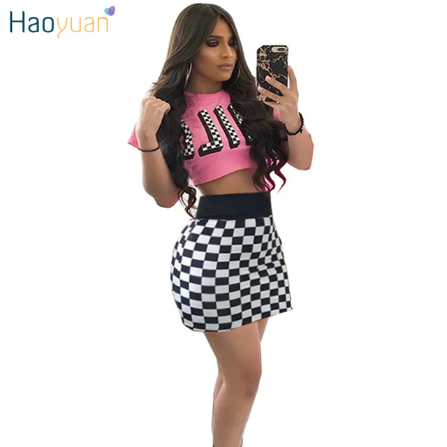 HAOYUAN Checkerboard Two Pieces Sets 2018 Summer Letter Print Crop Top And Skirts Outfits Suit Club Party Sexy 2 Piece Set Women