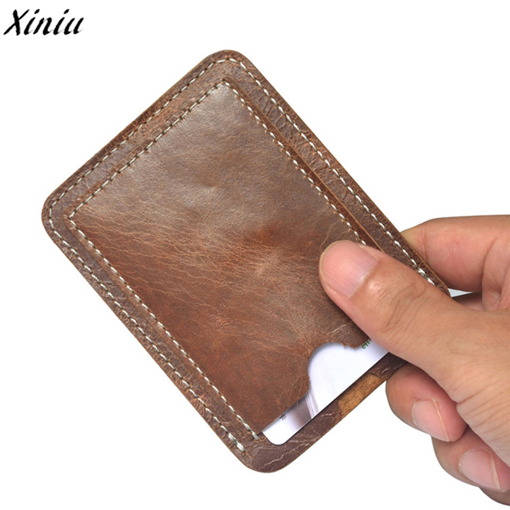 Держатель для карт коричневый тонкий кредитной карты ID Card Case Брендовые однотонные Цвет кожаные водительские права кошелек сумка Cartes #7214