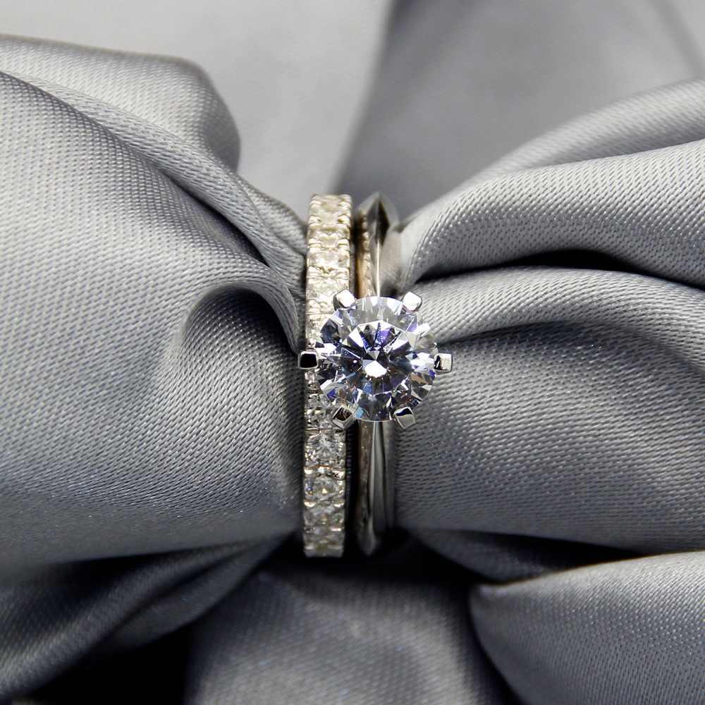 คลาสสิกเงินแท้ Silver 925 Sterling Silver แหวน 2Ct Round - cut SONA เครื่องประดับเพชรแต่งงานแหวนสำหรับผู้หญิง SZ 4-10