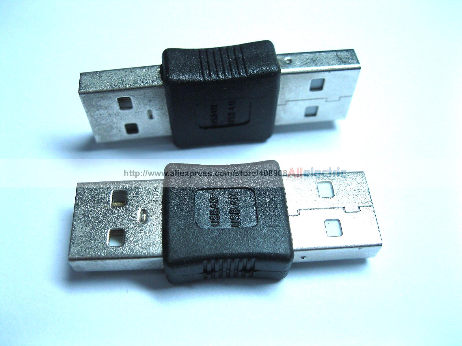 100 Pcs USB Am Male to USB Am Male Adapter Connector 40mm usb am to dc 3 5mm trrs adapter