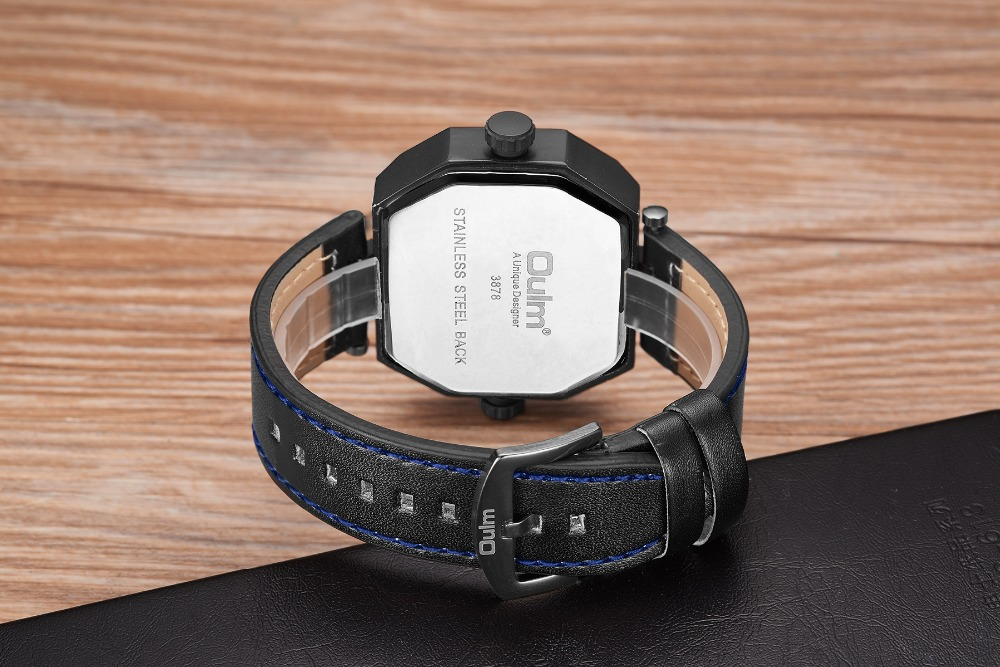 OULM Fashion Oversize Quartz Watch Men 2 Time Zone Display Unique Rectangle Dial Deisgn Leather Strap Creative Casual Wristwatch 19