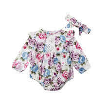 0-24M Newborn Baby Girls Floral Rompers Long Sleeve Lace Jumpsuit Playsuit + Headband Autumn Spring Costumes Clothes