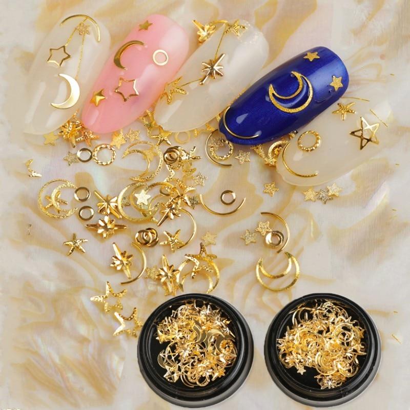 Mixed Styles Moon & Star Nail Glitter Rhinestones Jewelry Charms Gems Metal Slice Rivet DIY 3D Flat Back Nail Art Decorations